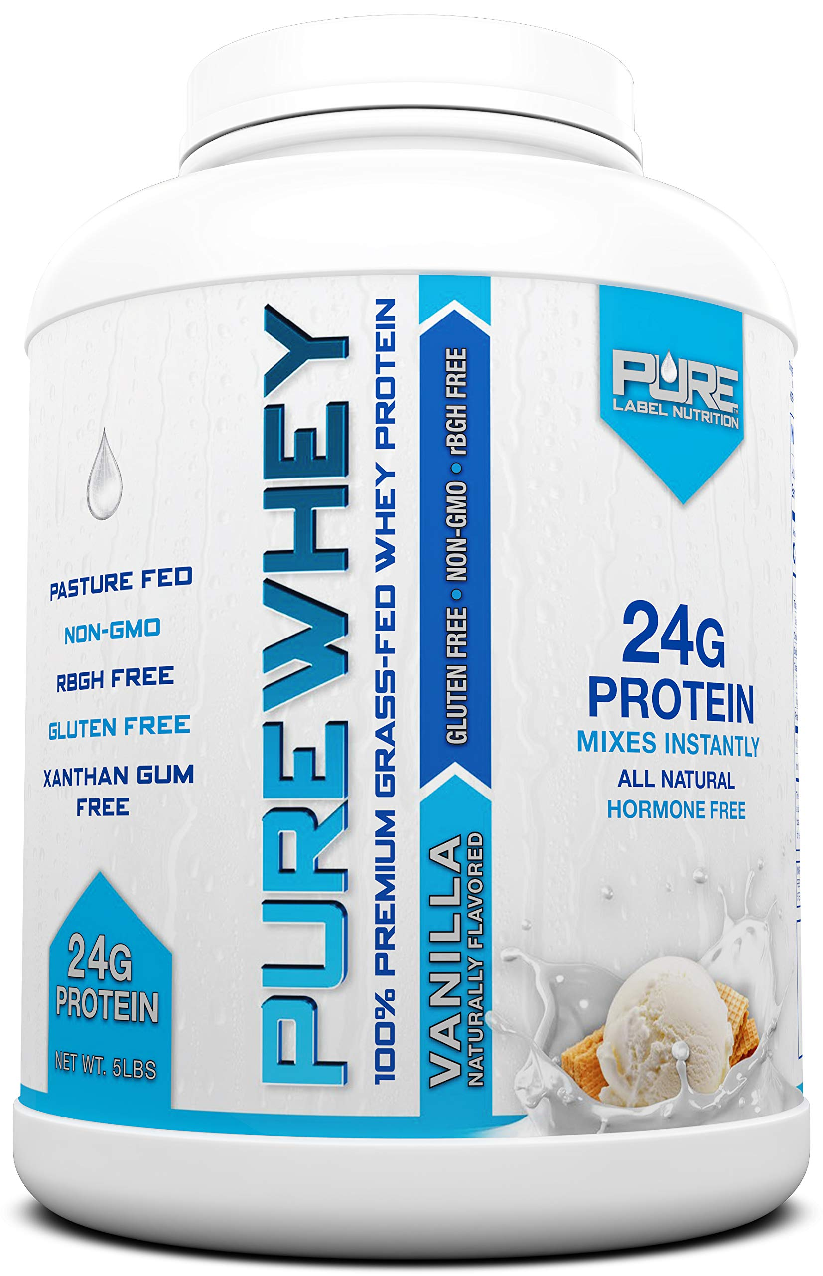 Grass Fed Whey Protein - 5lb Vanilla - 100% Natural, Cold Processed, Undenatured w/No Sweeteners or Added Sugars - rBGH Free, GMO-Free, Gluten Free, Preservative Free - Pure Whey by Pure Label Nutrition