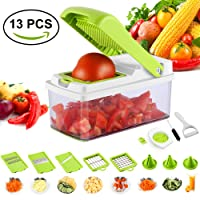 Mandoline Vegetable Slicer, Kitchen Multi-function 13 in 1 Food Cutter and Shredder Fruits and Vegetables Chopper ,All-in-One Vegetable Cutter Holder Container for Potato,Tomato,Onion,Cucumber