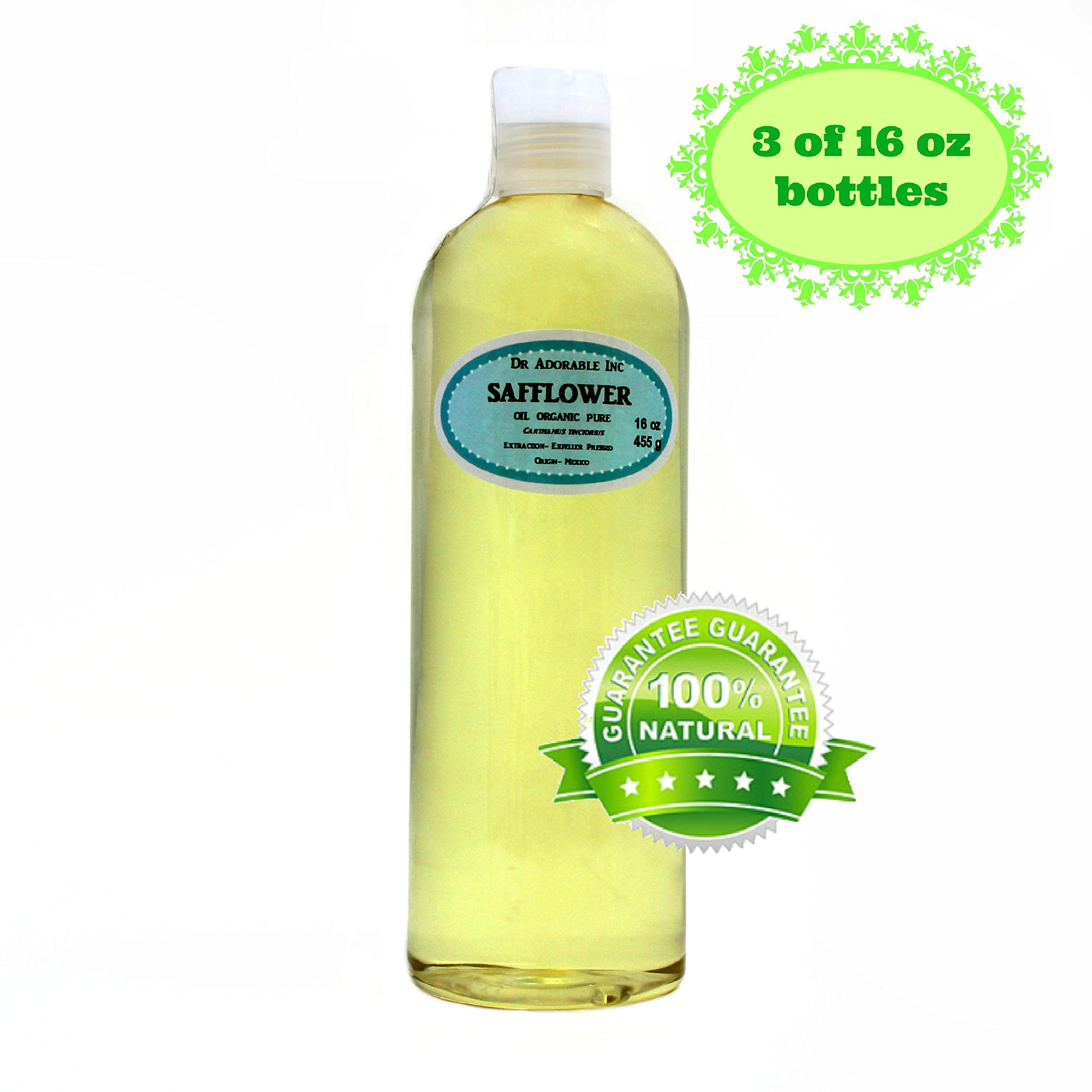 Safflower OIL High Oleic Organic 100% Pure 48 Oz / 3 Pints