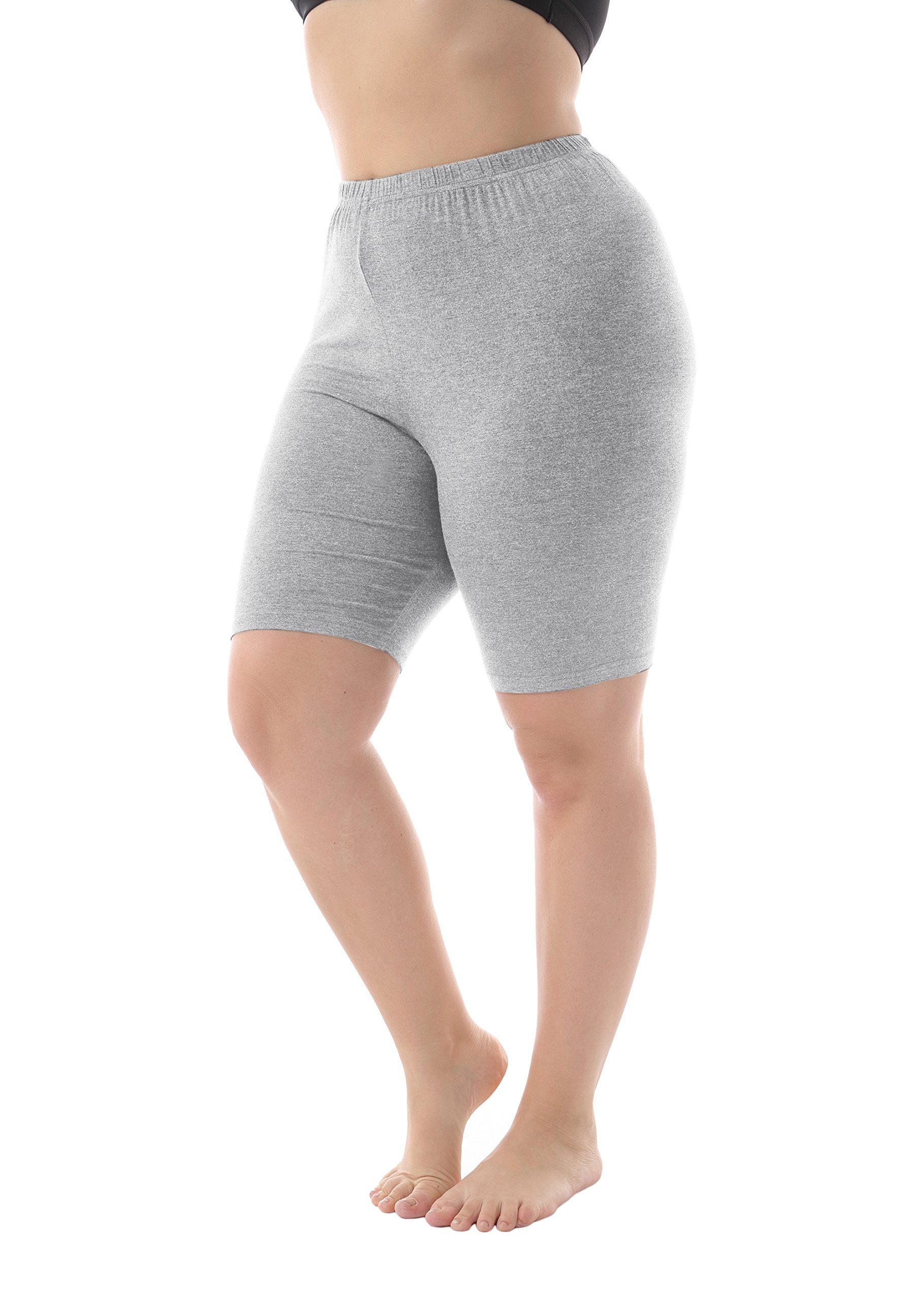 Zerdocean Leggings Women's Modal Plus Size Mid Thigh Shorts Light Gray 4X