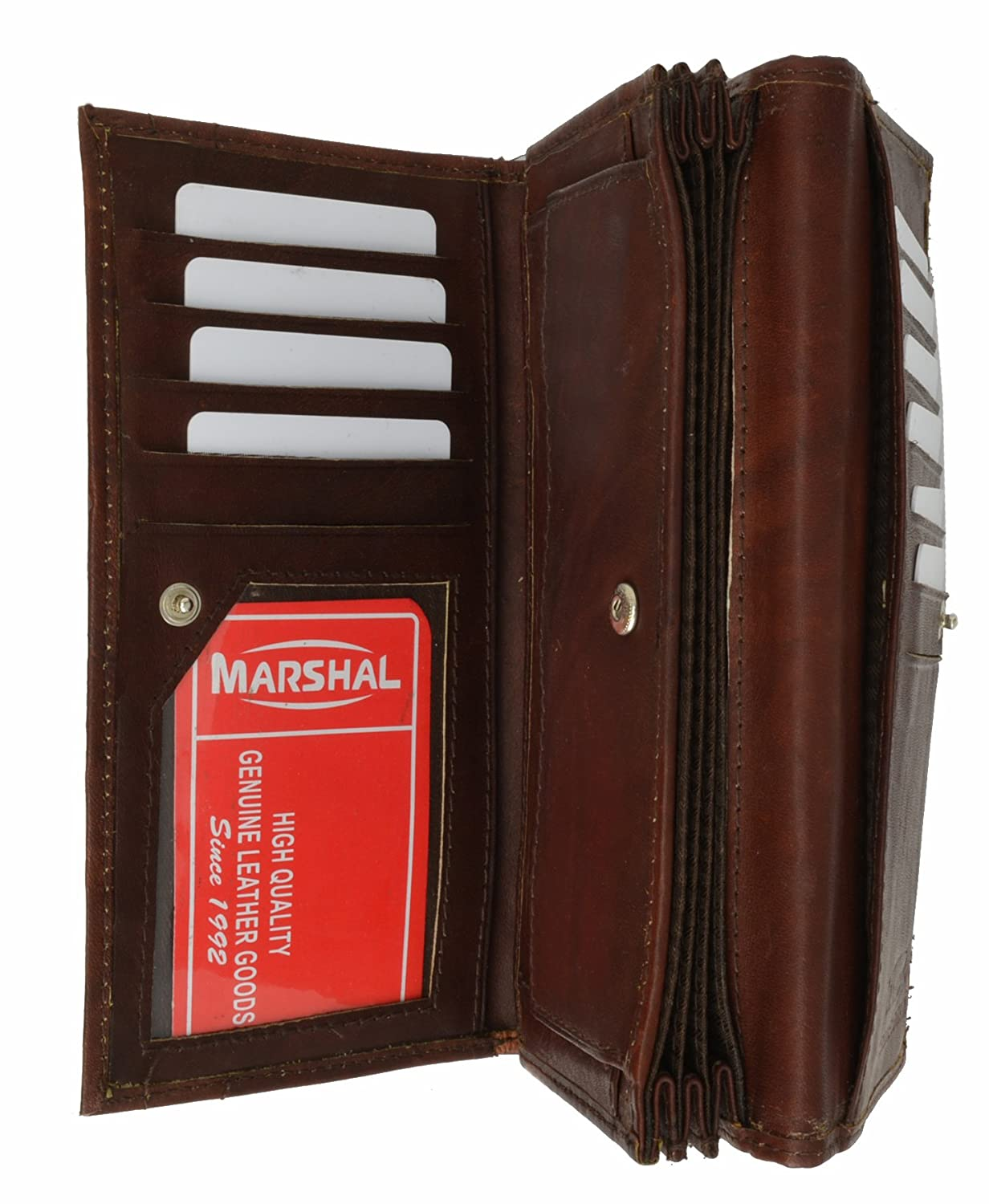 Womens Checkbook Wallet with Id Window and Snap Button Closure by Marshal