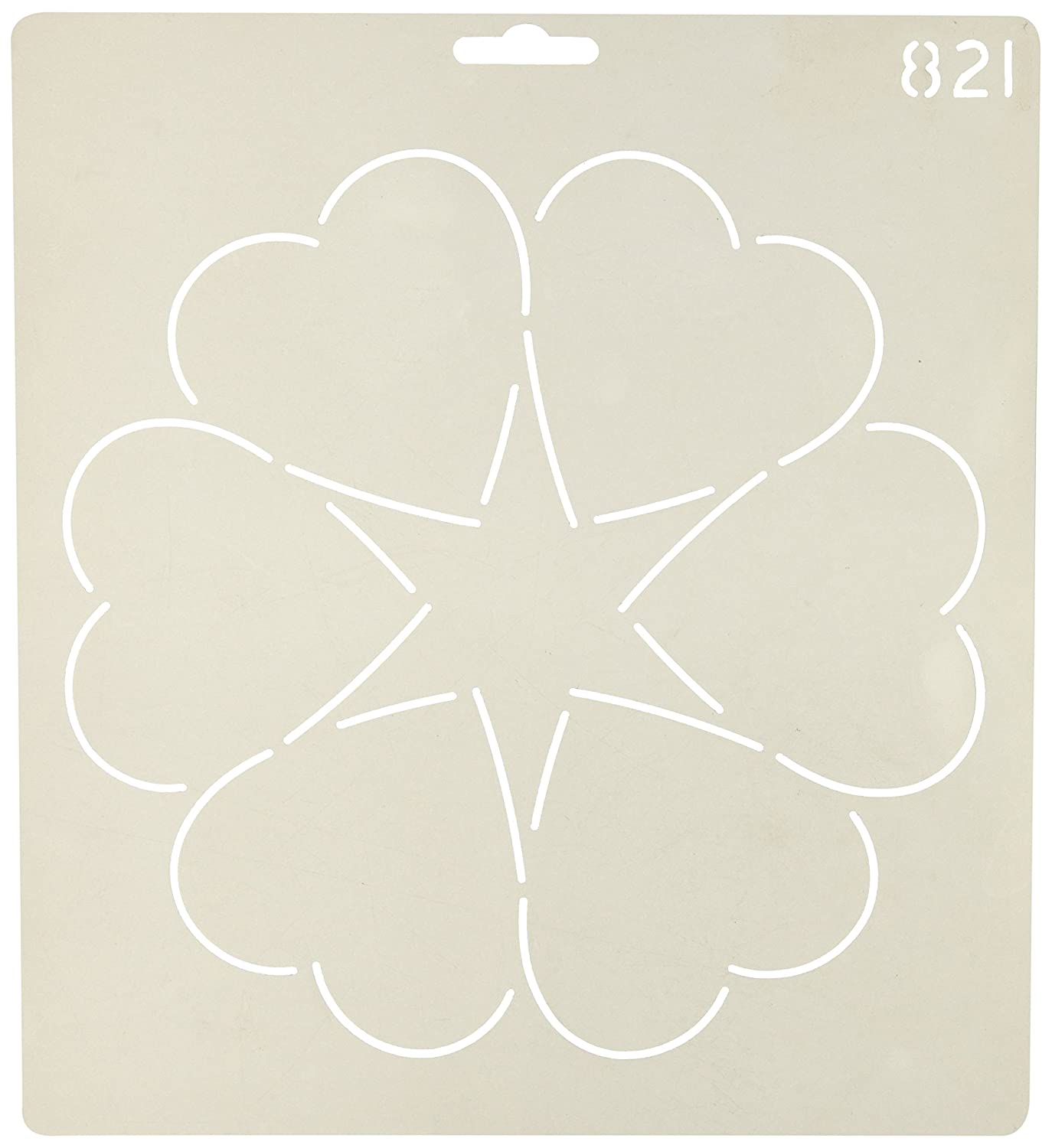 Quilting Creations Ring of Hearts Quilt Stencil, 8 8 821QC
