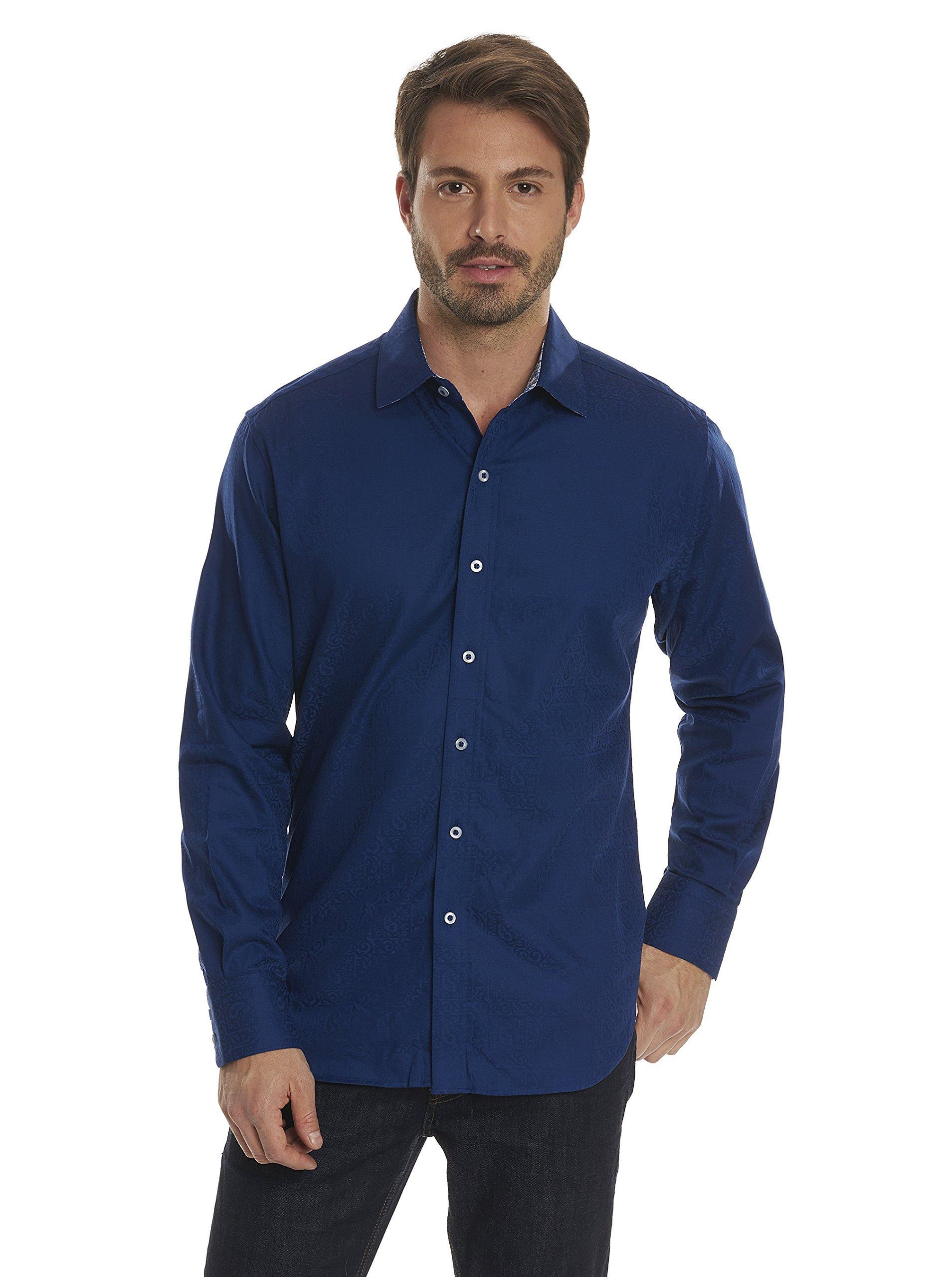 Robert Graham Men's Windsor Classic Fit Long Sleeve Shirt, Navy, 2XLARGE by Robert Graham