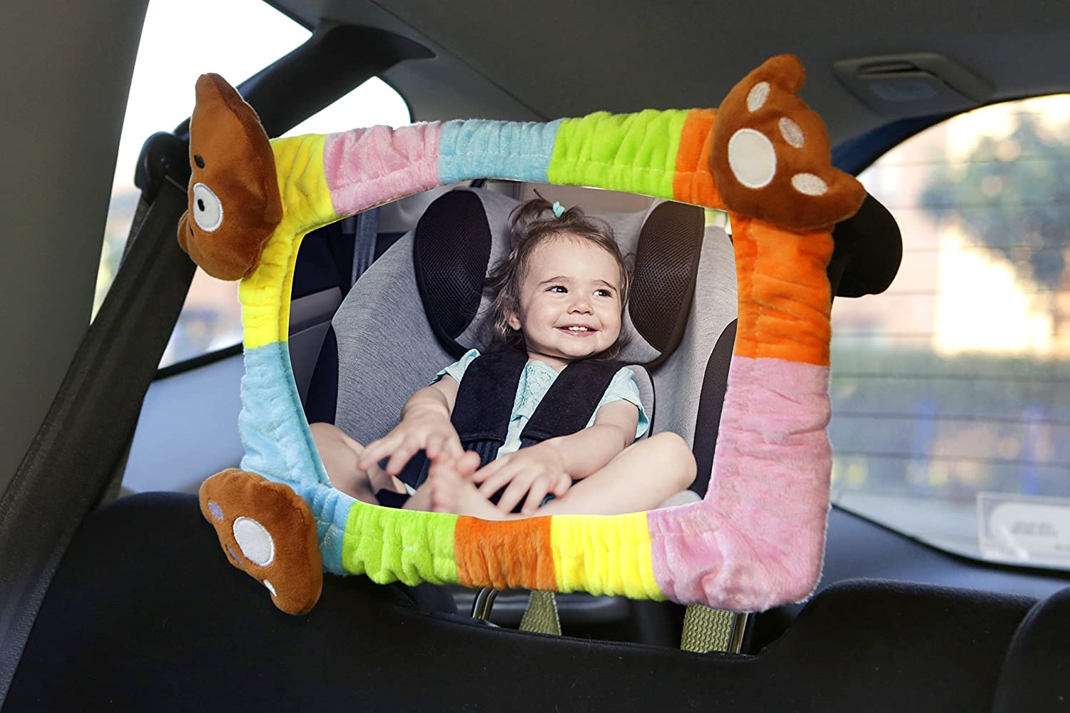 Evryneed Rainbow Baby Car Mirror, Backseat baby mirror, Rear view Car Mirror, Rectangle Shape with Soft multicolour velvet frame of teddy bear head and paw. 100% Shatterproof, Ready Assembled. Evryneed Ltd
