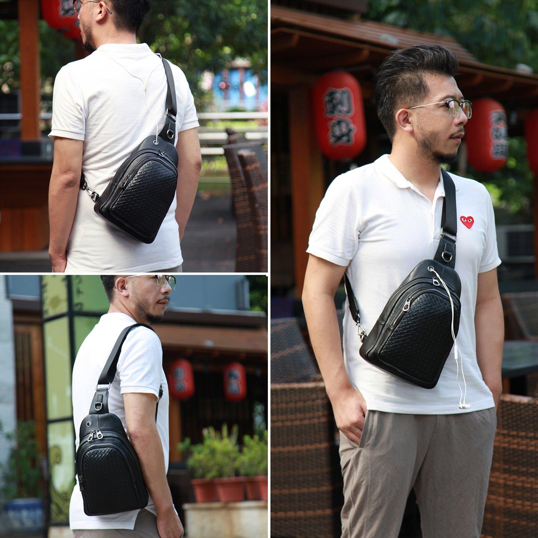 Banuce Top Grain Cowhide Leather Versatile Sling Bag Shoulder Chest Packs Cross Backpack