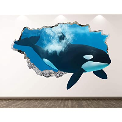 "West Mountain Orca Wall Decal Art Decor 3D Smashed Ocean Killer Whale Animal Sticker Mural Kids Room Custom Gift BL69 (22"" W x 14"" H): Home & Kitchen"