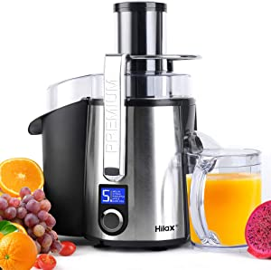 Centrifugal Juicer Machine - 1100W Juice Maker Extractor, 5-Speed Juice Processor Fruit and Vegetable, Big Mouth Stainless Steel Power Juicer, Anti-drip, BPA Free