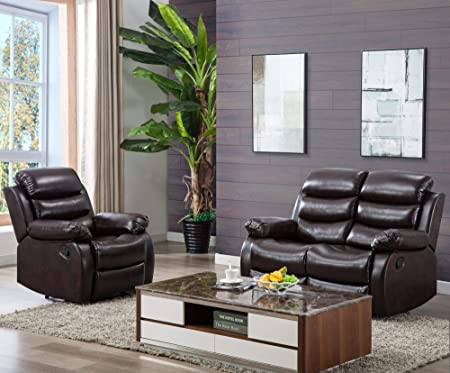 Harper Bright Designs Classic Bonded Leather Sectional Recliner Sofa Recliner Loveseat