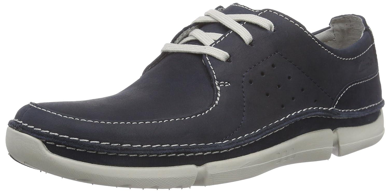 Clarks Trikeyon Fly - Zapatos de Cordones Derby Hombre 44.5 EU|Azul (Navy Leather)