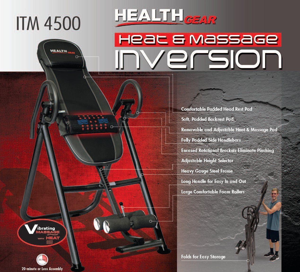 Health Gear ITM4.5 Adjustable Heat Massage Inversion Table – Heavy Duty up to 300 lbs.