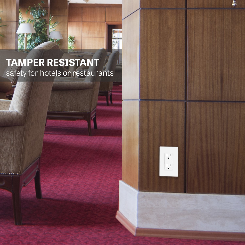 Enerlites 15A Tamper Resistant Outlet 61501-TR | Decorator Duplex Receptacle, Residential Grade, Self-Grounding, Child Safe, UL Listed, Straight Blade, 2-Pole | 125V, White - 10 Pack by Enerlites (Image #6)