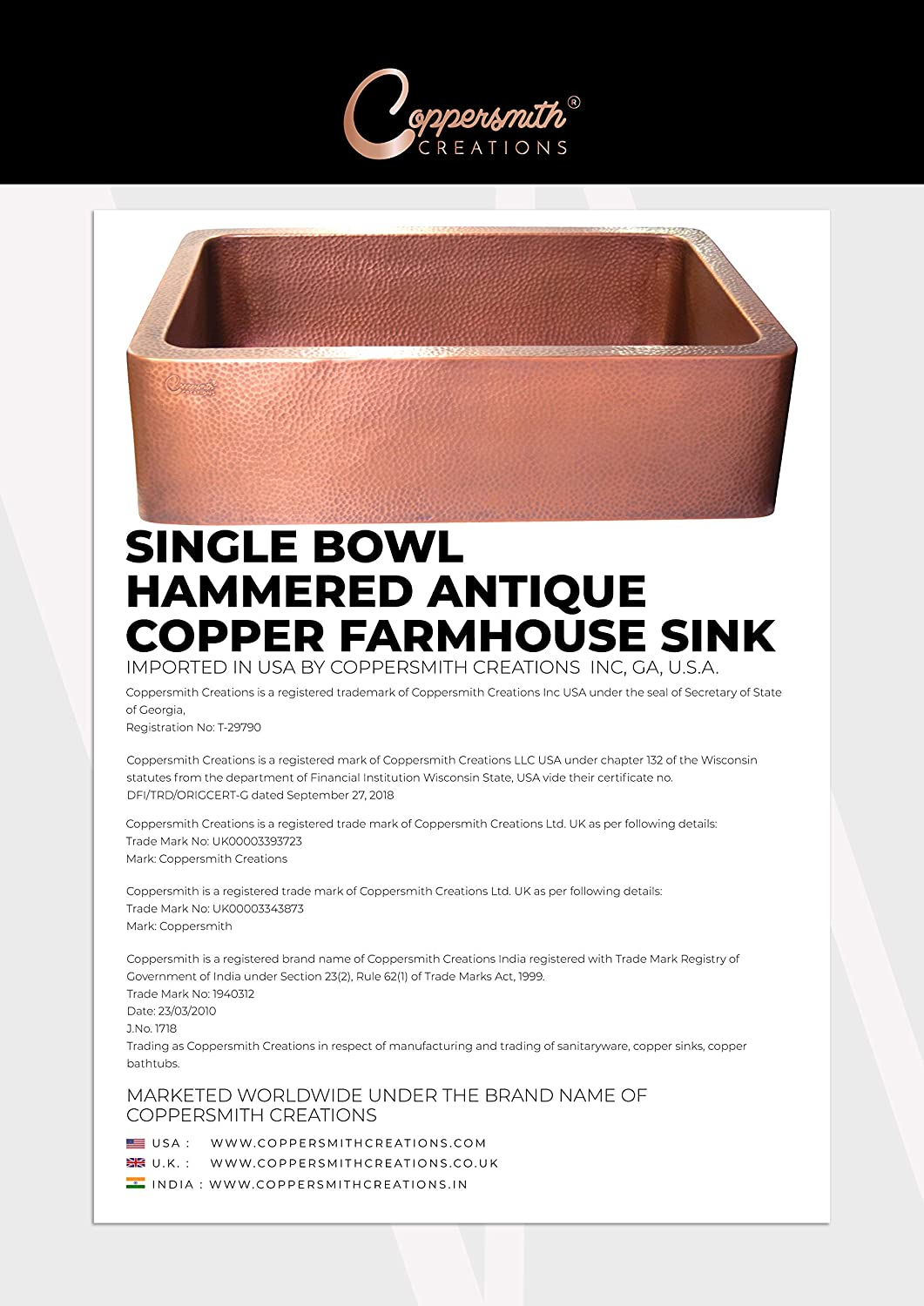 Best Quality Best Price Coppersmith Creations 33-inch Farmhouse Front Apron Copper Kitchen Sink Single Bowl Hand Hammered Antique finish