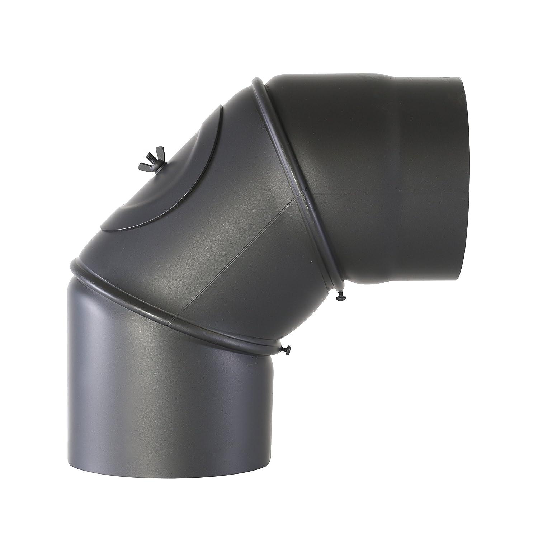 Kamino-Flam Uni-Knie schwarz mit Tür, verstellbarer Winkel von 90 ° - 180 °, Abgasrohr aus Stahl mit hitzebeständiger Senotherm® Beschichtung, geprüft nach Norm EN 1856-2, Durchmesser: ca. 120 mm Robert Testrut GmbH 331705