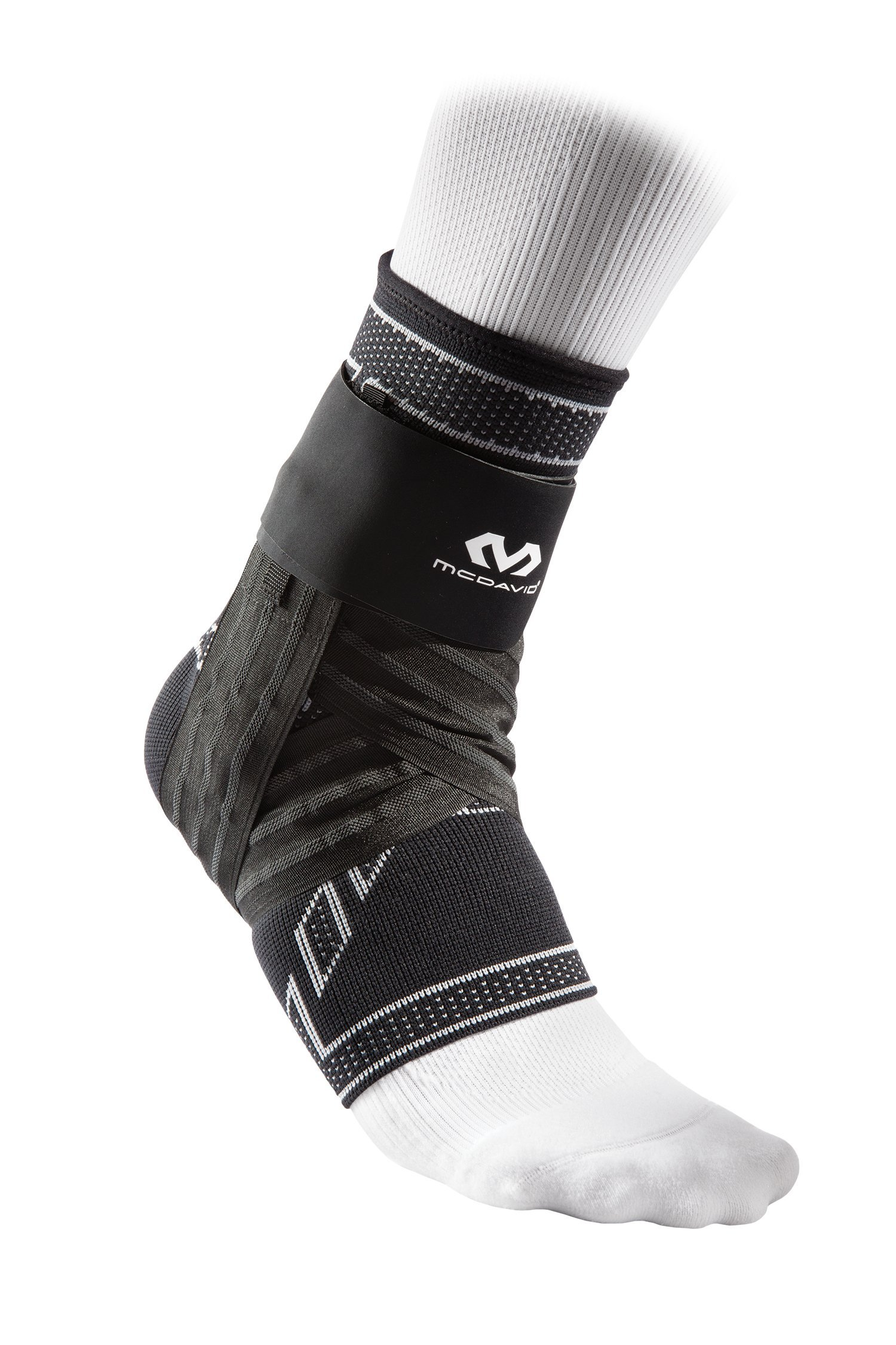 McDavid Elite Engineered Elastic Ankle Brace with Figure 6 Strap & Stays, Black, Large by McDavid