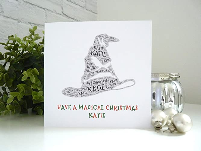 Personalised Sorting Hat Inspired Christmas Card dd0201ef3c61