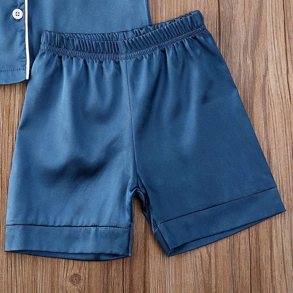 Mialoley 2Pcs Toddler Baby Boy Girl Satin Silk Pajamas Set Short Sleeve Button Down Pjs Kids Unisex Summer Sleepwear
