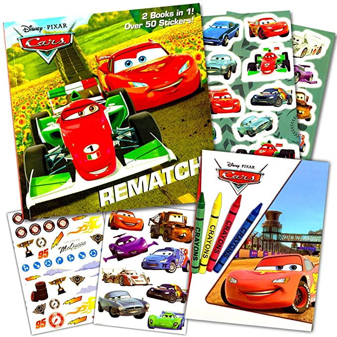 Disney Cars Coloring Book Set 2 Books Featuring Lightning McQueen - 96 Pages, Int. Ed.