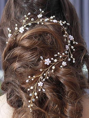 Amazon Com Yean Wedding Hair Vine Gold Headband Bridal Branch