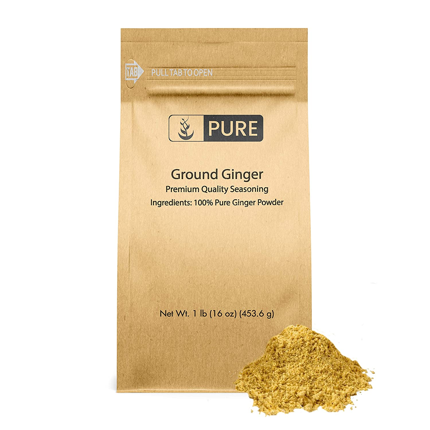 Ground Ginger, 1lb, Whole Herb, Pure & Natural with No Preservatives, Vegetarian, Gluten-Free, Allergen-Free, Keto Friendly, 1 Ingredient, Made in USA, Satisfaction Guaranteed