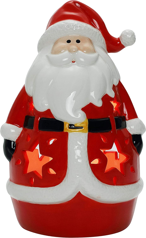 Santa Ceramic Christmas LED Tabletop Lantern Statue