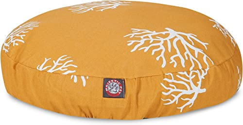 Yellow Coral Large Round Indoor Outdoor Pet Dog Bed With Removable Washable Cover By Majestic Pet Products