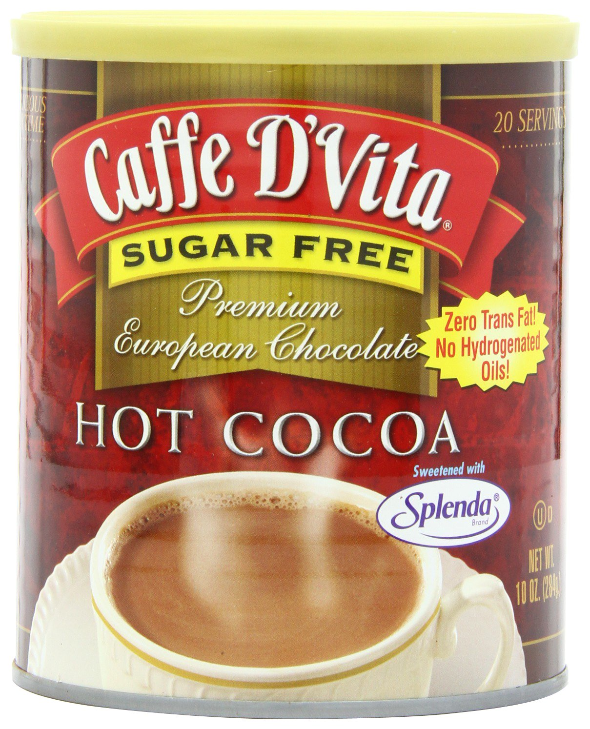 Caffe D'Vita Sugar Free Hot Cocoa, 10-Ounce Cans (Pack of 6) by Caffe D'Vita