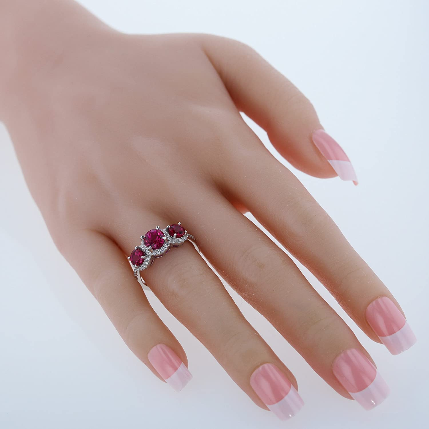 Sterling Silver Round Cut Three-Stone Gemstone Halo Ring Sizes 5 to 9