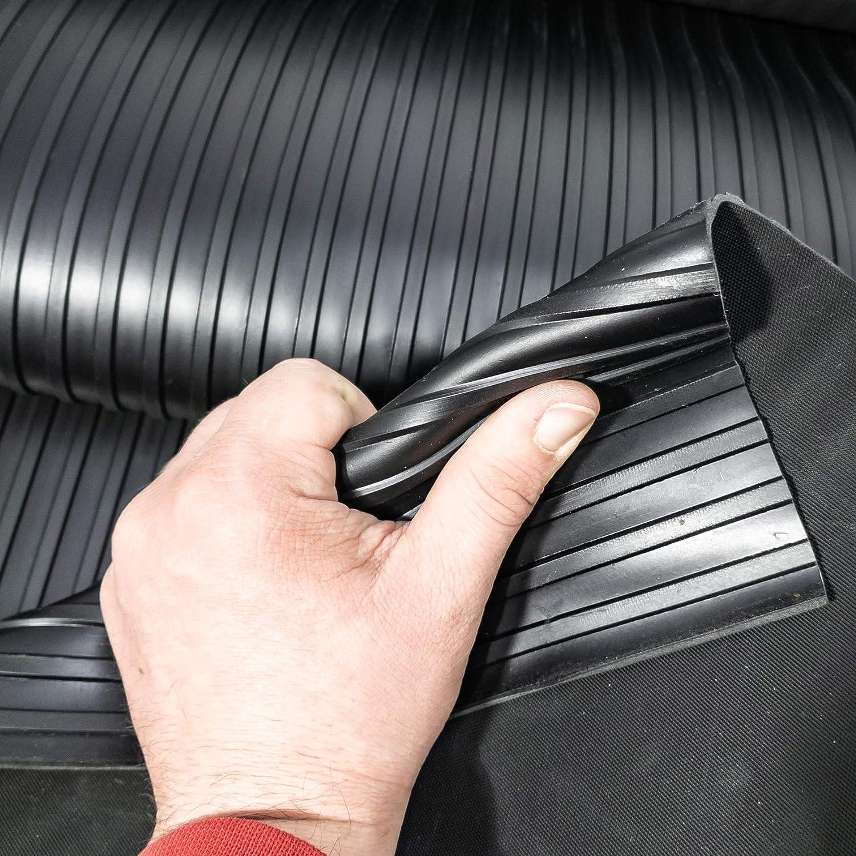 ANRO Gummimatte Schutzmatte Noppenmatte Bodenmatte Breitriefen Gummil/äufer 100cm Breit 3mm stark Schwarz 90 x 100cm