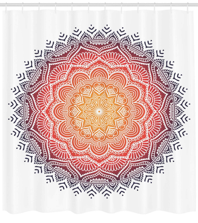 Traumf/änger-Mandala-Kunst ABAKUHAUS Yoga Duschvorhang 175x180 cm mit 12 Ringe Set Wasserdicht Stielvoll Modern Farbfest und Schimmel Resistent Wei/ß und Braun