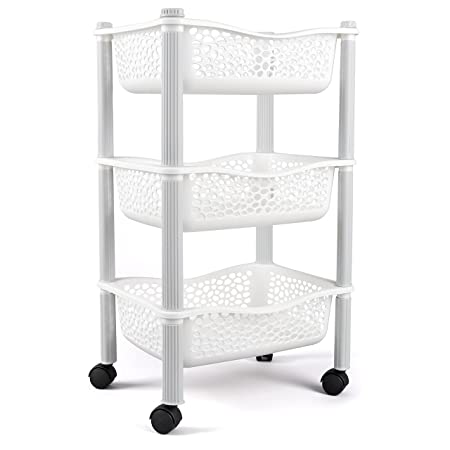 Kitchen Storage Trolley Cart With Storage Baskets And Wheels Fruit  Vegetable Rack   Heavy Duty Plastic
