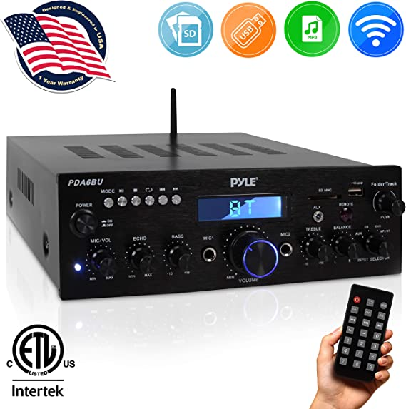 Wireless Bluetooth Power Amplifier System - 200W Dual Channel Sound Audio Stereo Receiver w/ USB