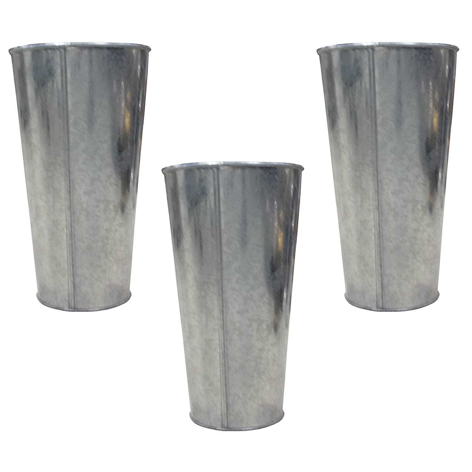 Hosley's Set of 3 Galvanized Vases/French Buckets - 9 High. Ideal for DIY Craft and Floral Projects, Party Favors, Festivities, Wedding O4. HG Global