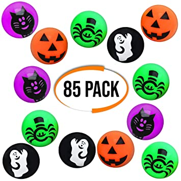 THE TWIDDLERS 85 Pelotas Saltarinas - Diseño de Halloween - Ideal para Bolsas Regalos de Fiesta, Piñatas Juguetes, Bolsas Sorpresa - Dulce o Travesura ...