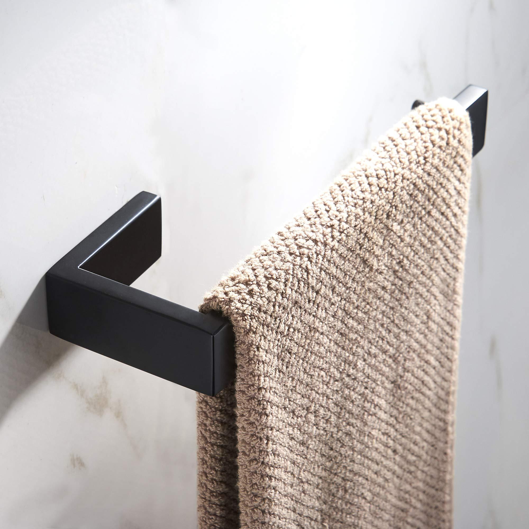 JunSun Towel Ring Stainless Steel Towel Holder Contemporary Bathroom Hardware Towel Bar for Bathroom Lavatory Wall Mounted, Matt Black