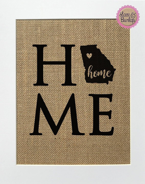 8x10 UNFRAMED Home/Burlap Print Sign/Georgia State Home Sweet Home GA Decor State Outline Rustic Shabby Chic Home Decor Handmade