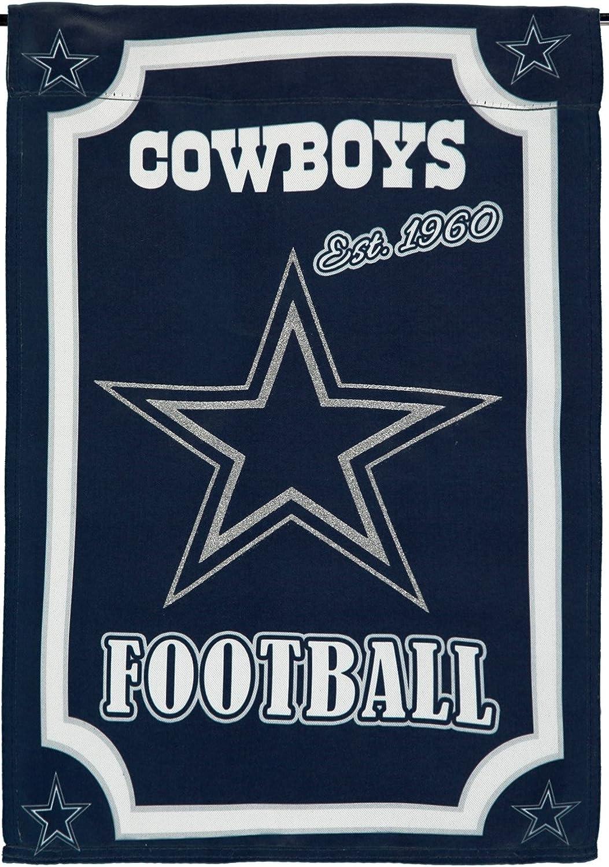 Stockdale Dallas Cowboys EG PV 463082 ESTABLISHED Glitter 2-sided GARDEN Flag Banner Football