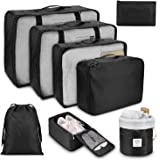 Packing Cubes for Travel, 8Pcs Travel Cubes Set Foldable Suitcase Organizer Lightweight Luggage Storage Bag (black)