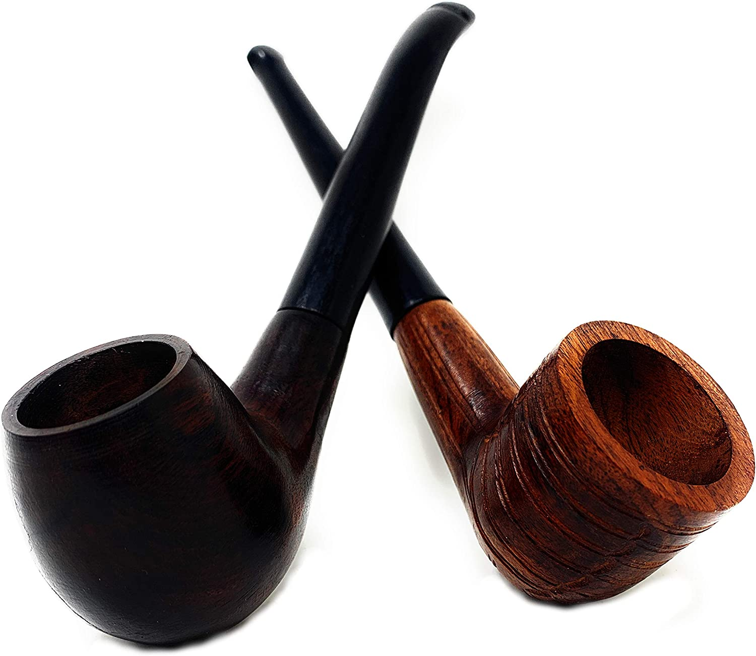 Set of 2 Handcrafted His & her Ebony Wood Tobacco Pipe Set 6 inch - Billiard Pipe and Apple Shape Viking Bent Pipe Set