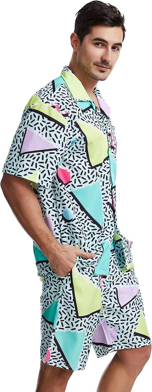 80s Men's Clothing   Shirts, Jeans, Jackets for Guys Hawaiian ShirtFunny Retro 80s 90s Geometric Mens Short Sleeve Button Down Shirts Summer Beach Shirts for Holiday $27.99 AT vintagedancer.com