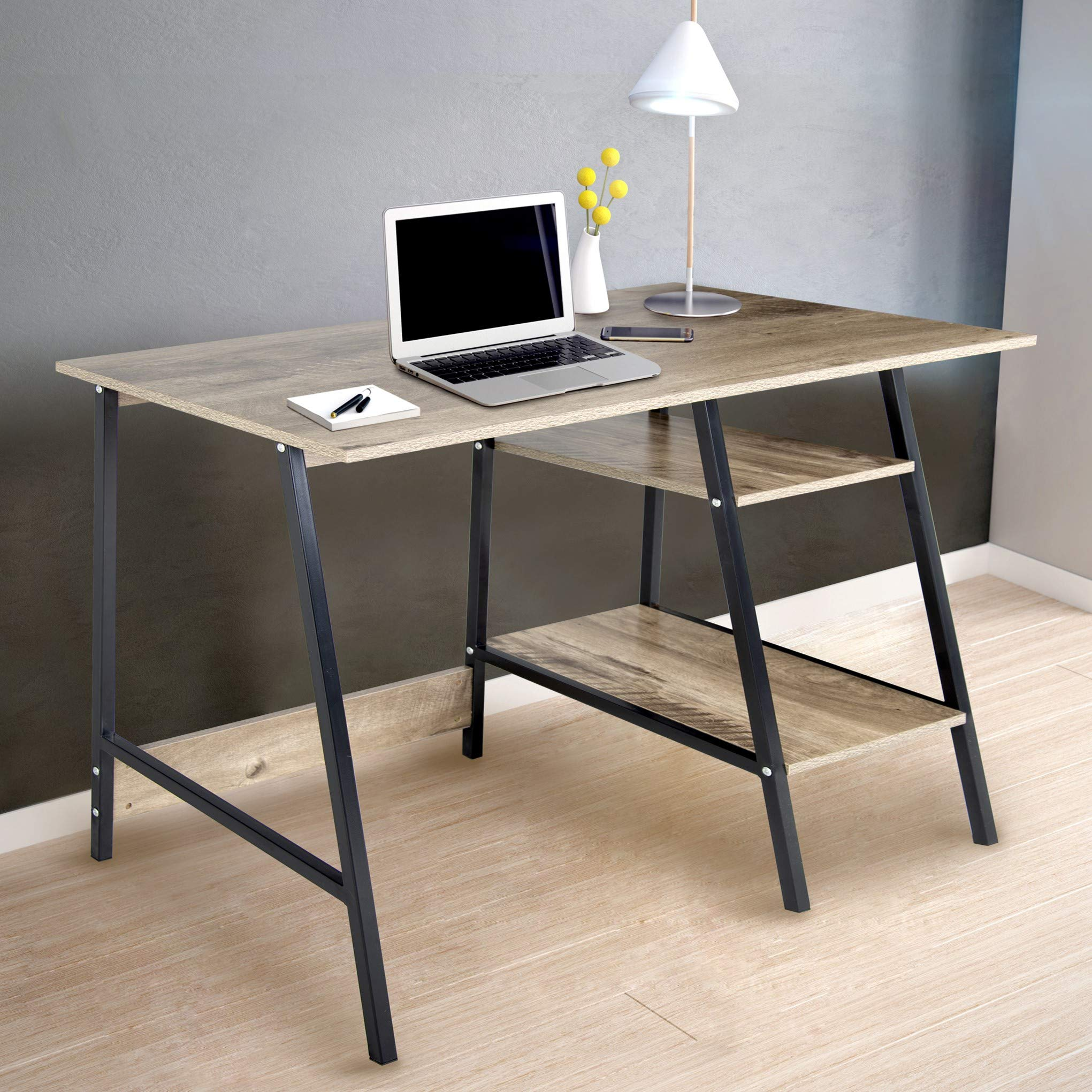 CAP LIVING Computer Desk w/ 2-Tier Shelves, Study Table, Writing Desk, Office Desk in Oak/Black Finish by CAP LIVING