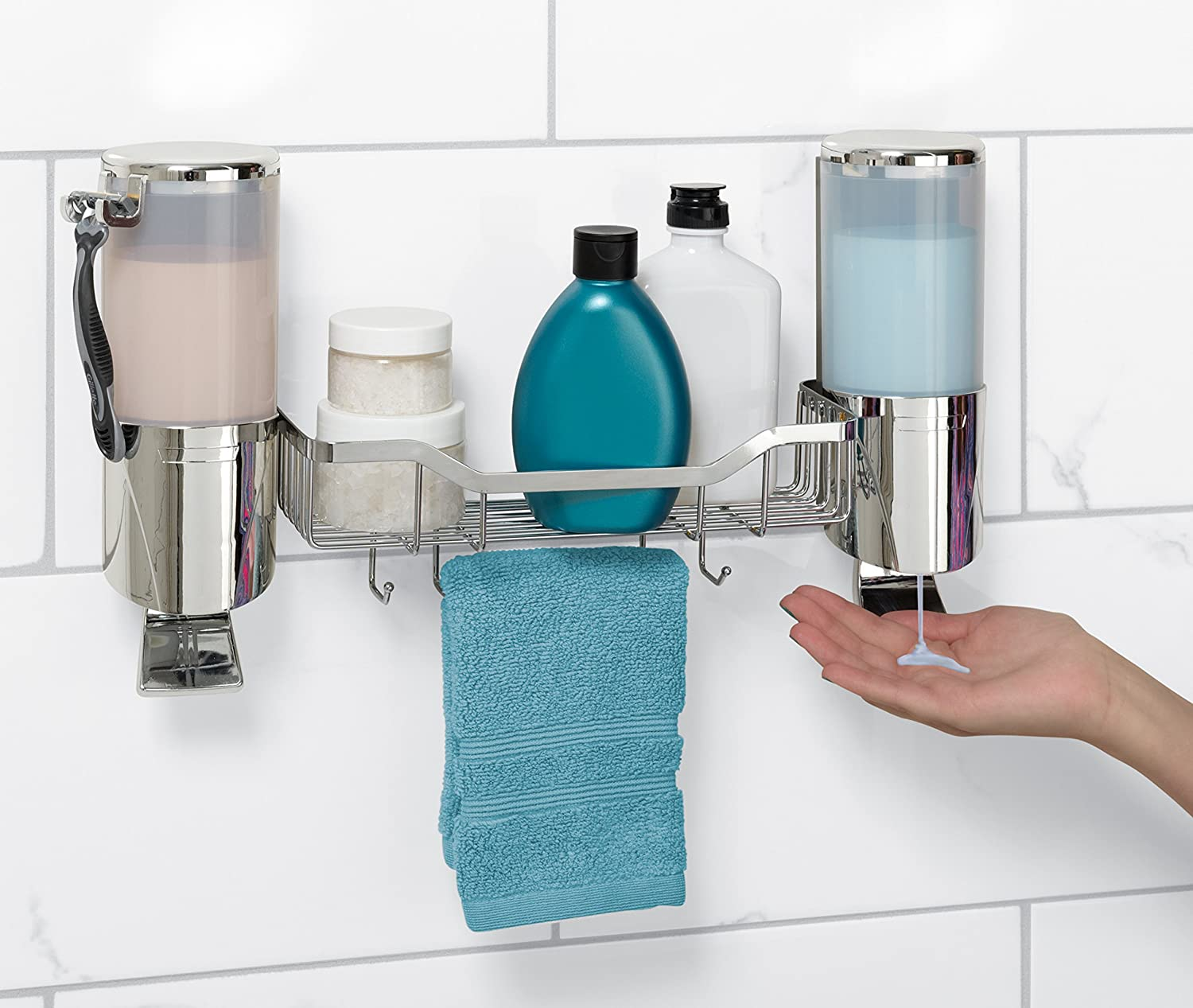 Amazon.com: Zenna Home 5714SS, Double Shower Dispenser with Caddy ...