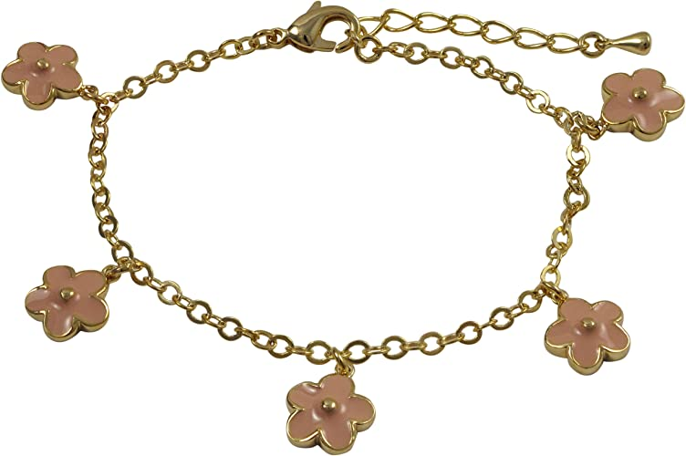 Ivy and Max Gold Finish Pink Enamel Flowers Girls Bracelet