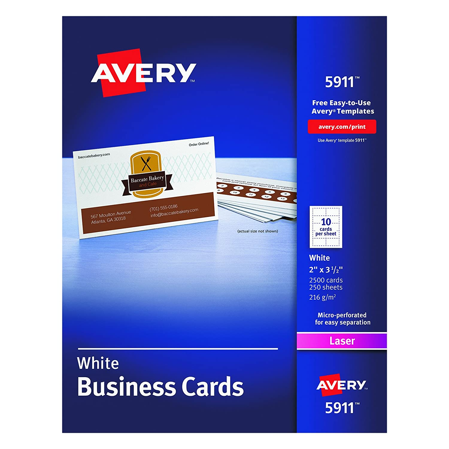 Amazon.com : Avery Laser Business Cards, 2 x 3.5-Inches, White ...