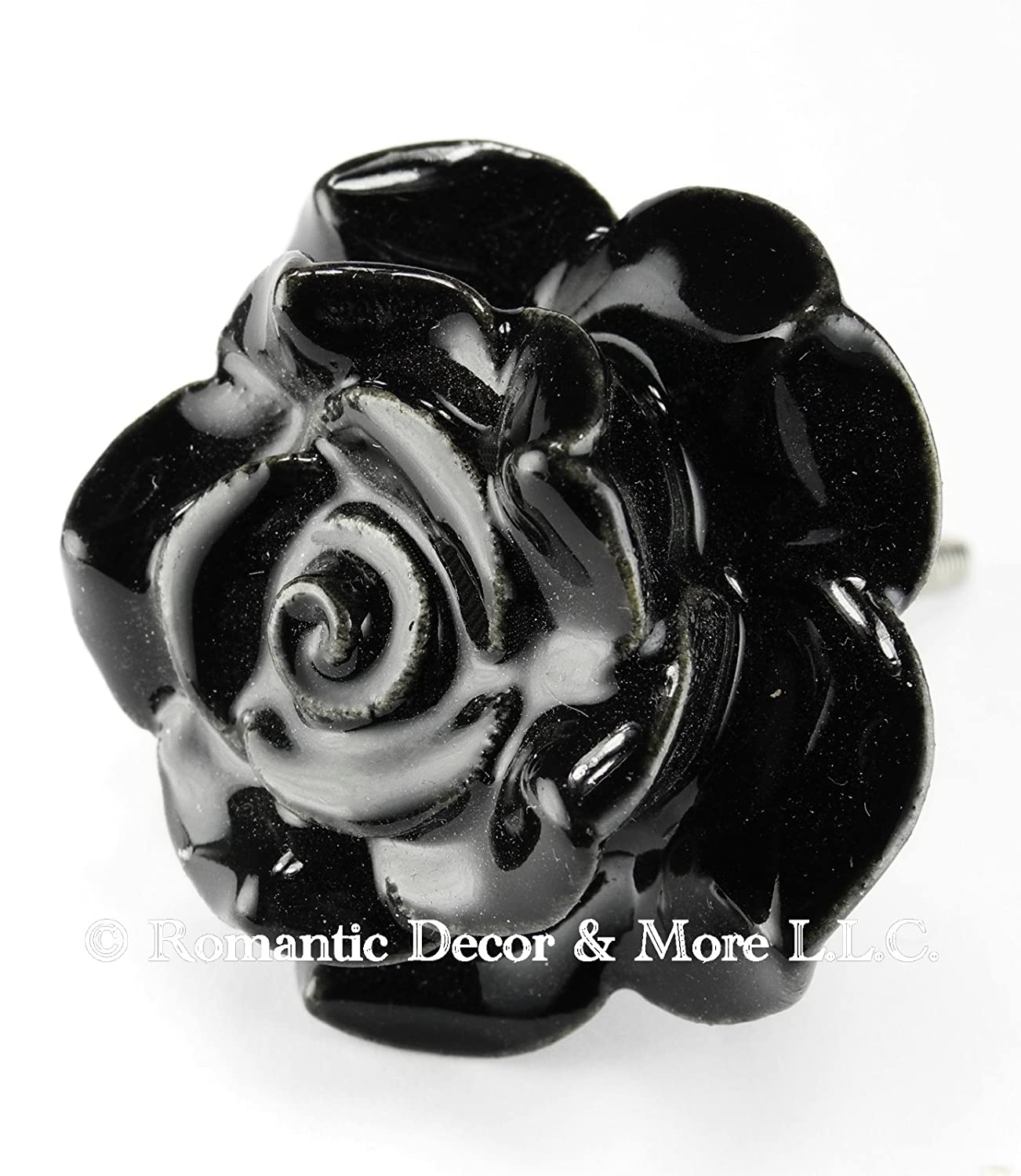 Black Rose Ceramic Knobs, Cupboard Drawer Pulls & Handles Set/2pc ...