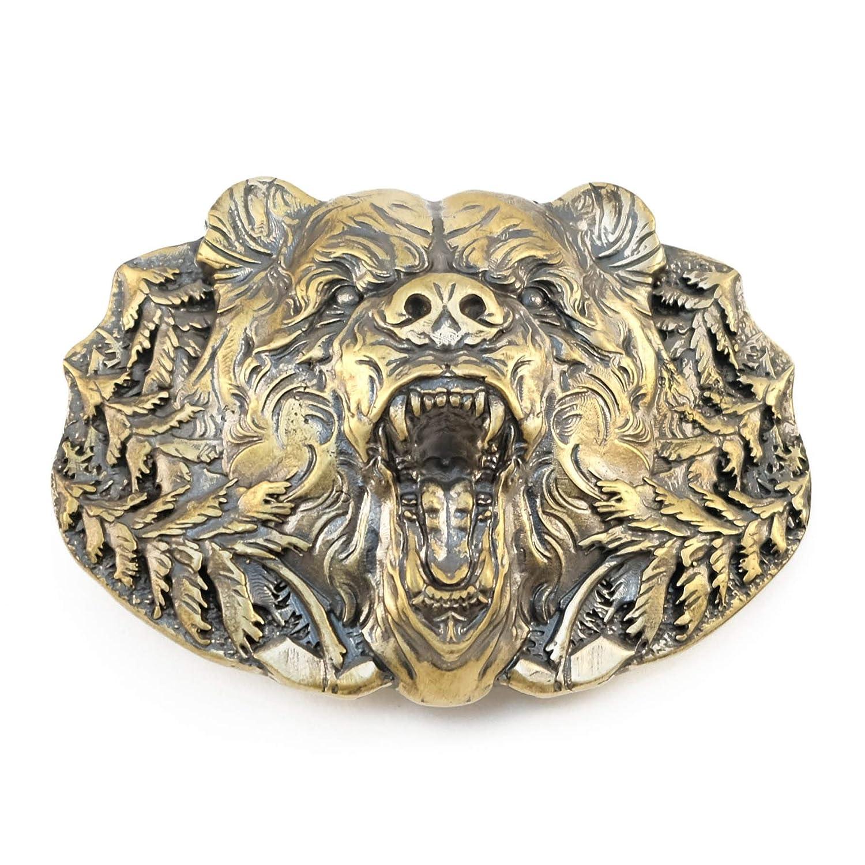 Wild Grizzly Bear solid brass belt buckle