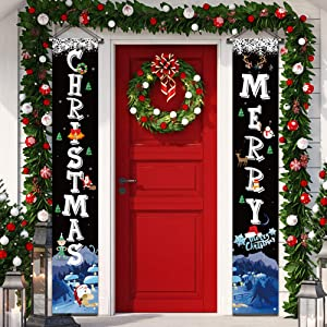 """YUFOL Christmas Decorations for Home Merry Christmas Banner,Hanging Christmas Door Decorations Decor Porch Sign for Front Door Welcome Christmas Banners Xmas Decor Flags-Large Size 12""""×71"""" (Black)"""