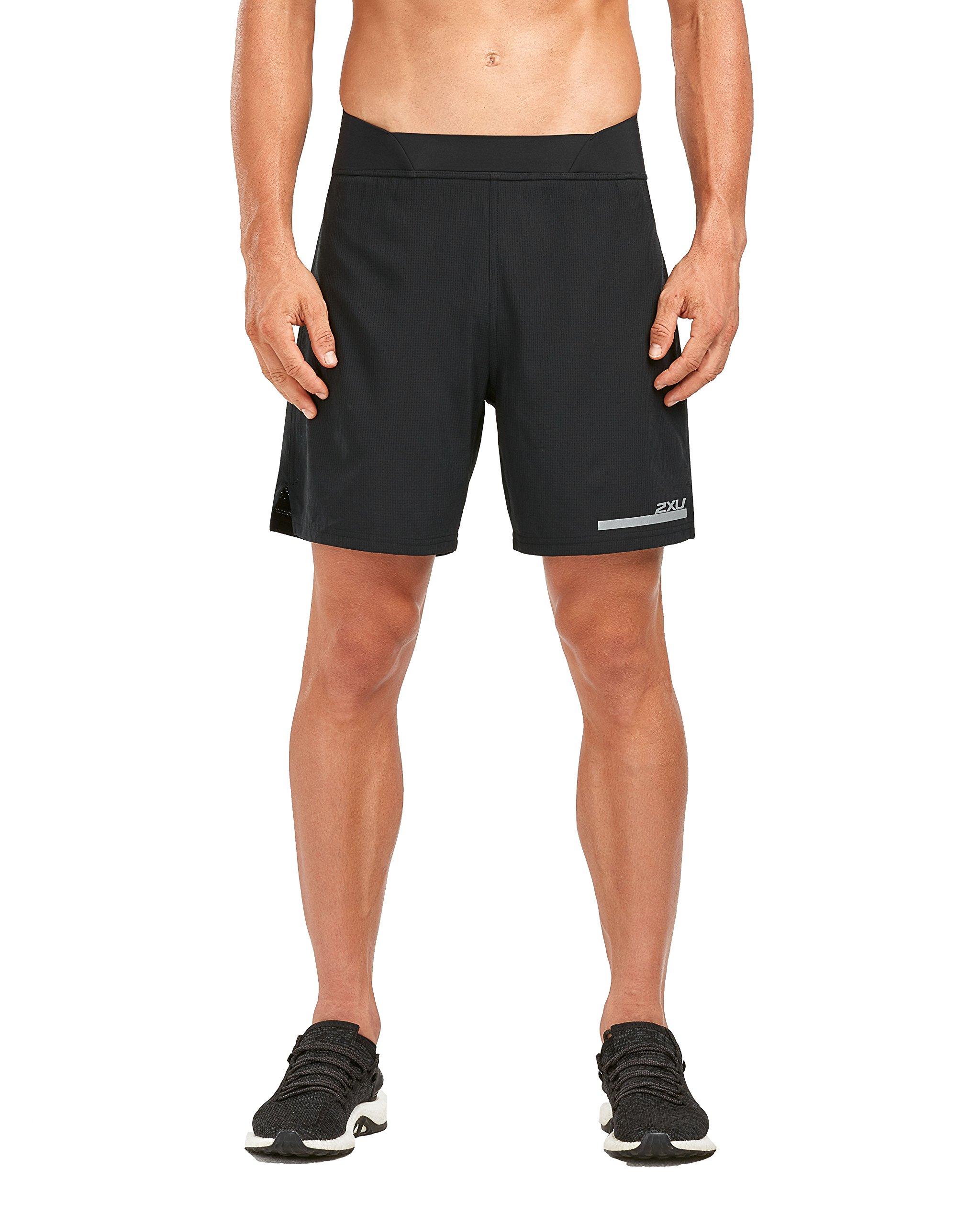 2XU Men's Run 2 in 1 Compression 7 Inch Shorts (Black/Silver, Extra Small)