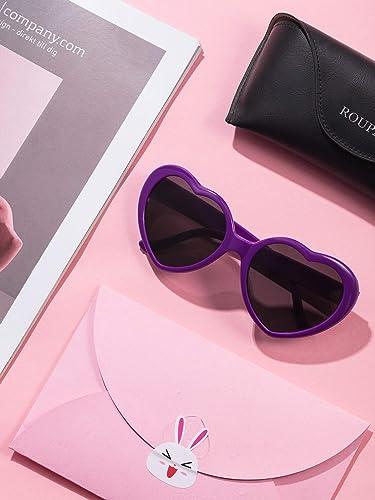 12 Piezas de Gafas de Sol en Forma de Corazón de Colores de Neon para Mujeres Favores de Fiesta y Festival (Morado): Amazon.es: Ropa y accesorios