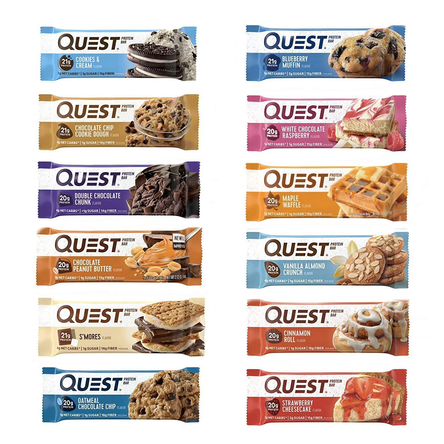 Quest Nutrition Protein Bar Adventure Variety Pack. Low Carb Meal Replacement Bar with 20 Gram Protein. High Fiber, Gluten-Free (24 Count)