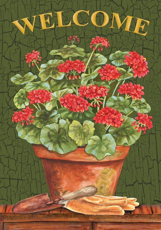 "Briarwood Lane Potted Geraniums Summer Garden Flag Welcome Floral 12.5"" x 18"""